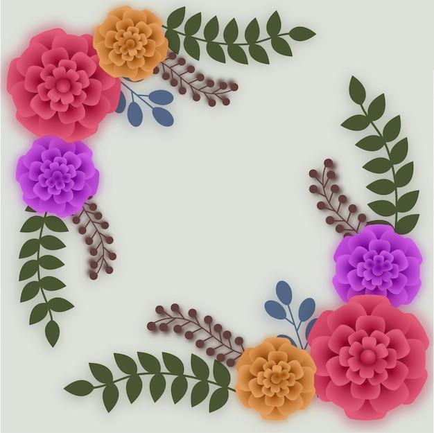 Fleurs de papier colorées sur fond abstrait.