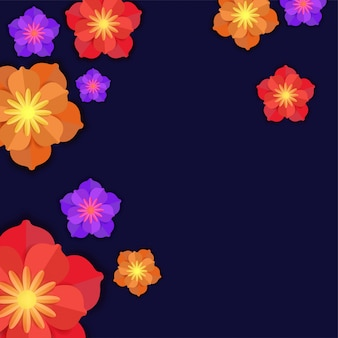 Fleurs en papier colorées sur fond bleu.