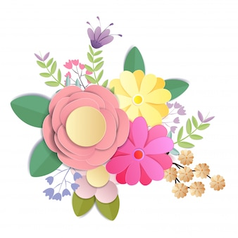 Fleurs en papier craft, bouquet floral festif, clipart nature isolé sur fond blanc, vecteur