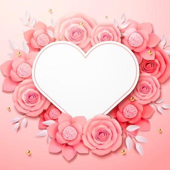 Fleurs en papier romantique avec carte en forme de coeur en illustration 3d
