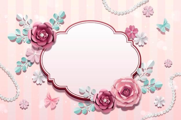 Fleurs en papier romantique avec fond de perle en illustration 3d