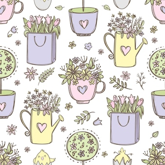 Fleurs de pâques. bouquets de fleurs dans une tasse arrosoir et sac en papier modèle sans couture dessiné à la main