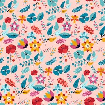 Fleurs peintes à la main sur motif de tissu
