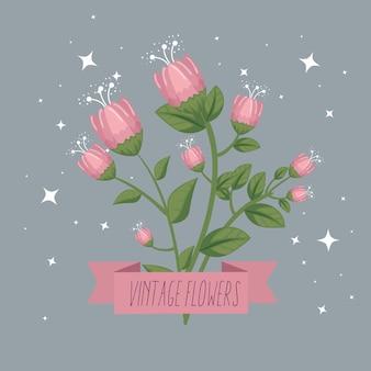 Fleurs avec des pétales de la nature et un ruban fashion