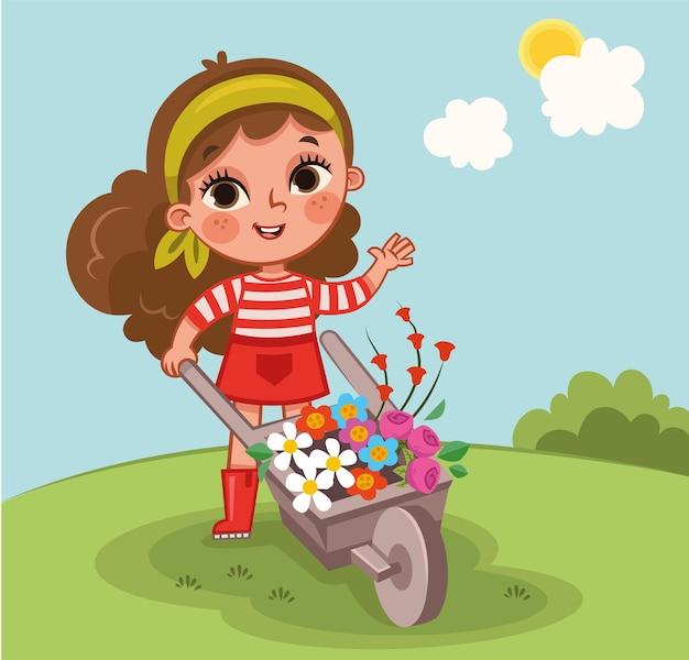 Fleurs et petite fille vector illustration