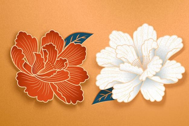 Fleurs de pivoine d'art de papier en blanc et rouge sur fond doré