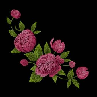 Fleurs de pivoines brodées. points de vecteur, ornement de mode sur fond noir pour la décoration folklorique traditionnelle en tissu