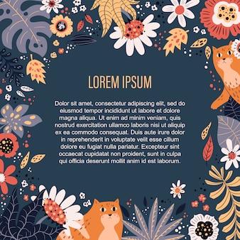 Fleurs et plantes dessinées à la main plate de vecteur. place pour votre texte.