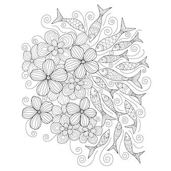 Fleurs et poissons en peluche dessinés à la main