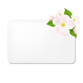 Fleurs de pommier avec étiquettes-cadeaux vierges