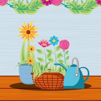 Fleurs en pot avec arrosoir