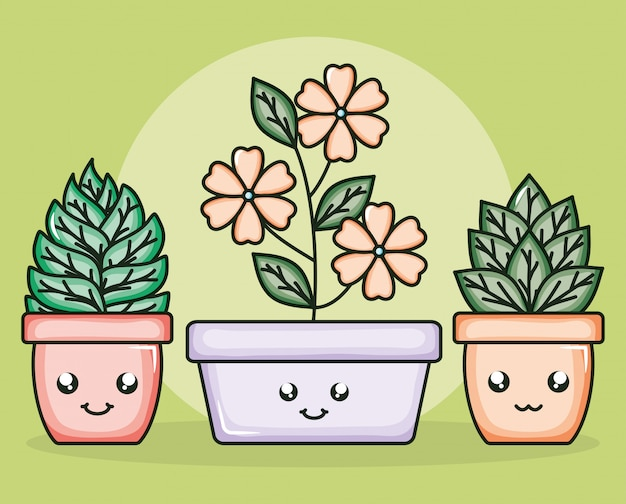 Fleurs en pot de céramique caractères kawaii