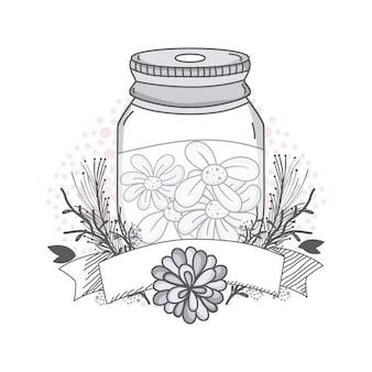 Fleurs en pot mason avec dessin de bannière bannière