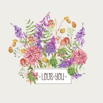 Fleurs de prairie d'été aquarelle, fleurs sauvages. carte de voeux florale botanique. collection de fleurs médicinales