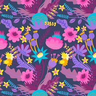 Fleurs printanières colorées sur motif de tissu