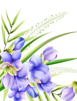 Fleurs de printemps aquarelle gloire du matin avec des feuilles vertes