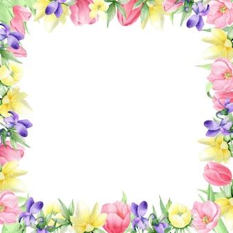 Fleurs de printemps aquarelles sur fond blanc, cadre carré