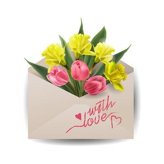 Fleurs de printemps colorées dans une enveloppe, concept de livraison de fleurs