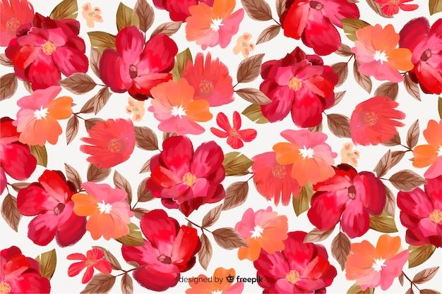Fleurs de printemps magnifique fond dessiné à la main