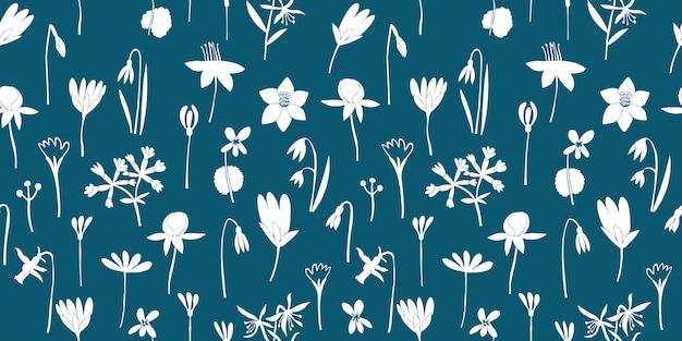 Fleurs de printemps motif transparent vert. illustrations dessinées à la main