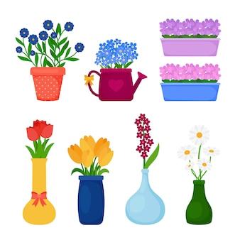 Fleurs de printemps en pots