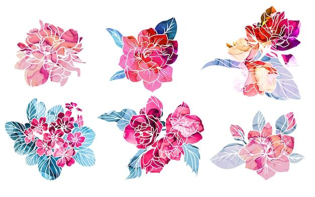 Fleurs de printemps avec texture d'encre d'alcool sur fond
