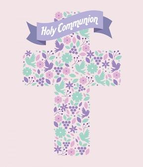 Fleurs avec des raisins et des colombes à l'intérieur de la croix avec un ruban