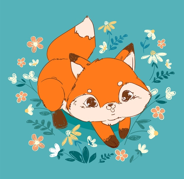 Fleurs et renard mignon dessinés à la main