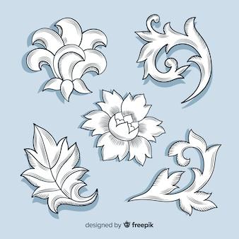 Fleurs rétro baroques dessinées à la main réaliste sur fond bleu