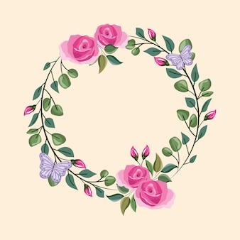 Fleurs rondes cadre coloré