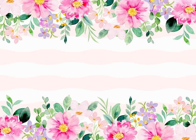 Fleurs roses aquarelles sur fond de rayures