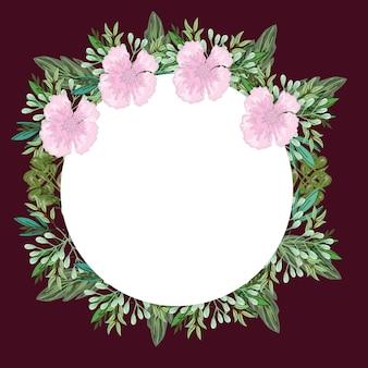 Fleurs roses et décoration nature feuillage bordure ronde, peinture d'illustration