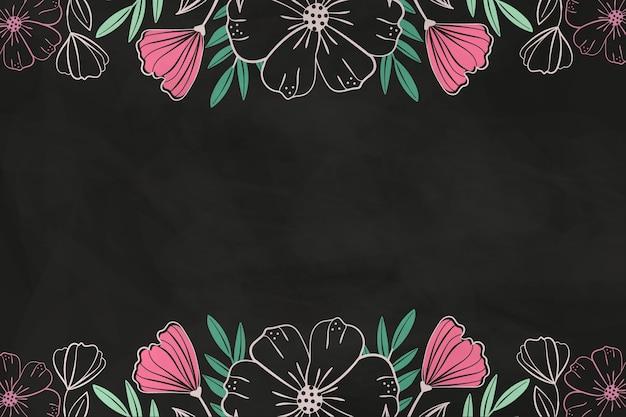 Fleurs roses dessinées sur fond de tableau noir