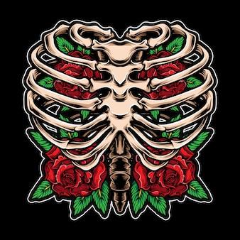 Fleurs roses à l'intérieur du squelette