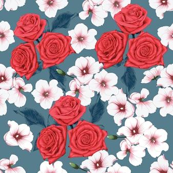 Fleurs roses de modèle sans couture rouge