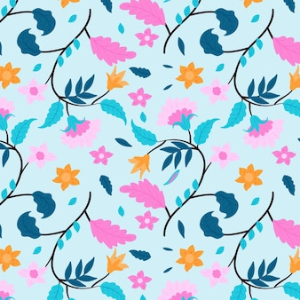 Fleurs roses et motif floral de feuilles bleues
