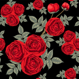 Fleurs roses rouges seamless pattern