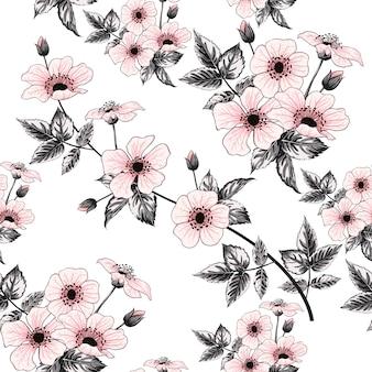 Fleurs roses sauvages modèle sans couture rose, dessin à la main