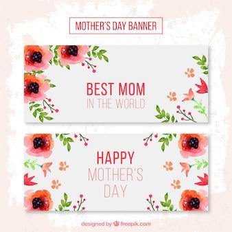 Les fleurs rouges des bannières de fête des mères
