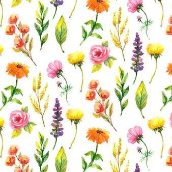 Fleurs sauvages, aquarelle, coquelicot, bleuet, camomille, motif