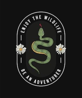 Fleurs et serpent