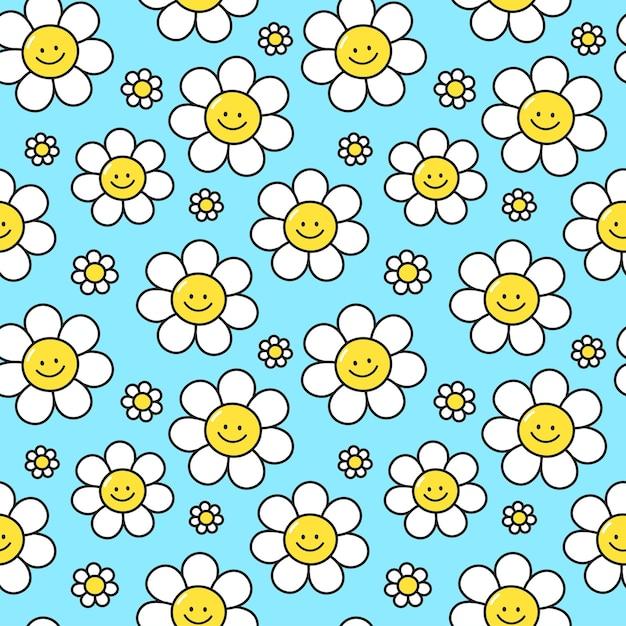 Fleurs de sourire mignon sur le modèle sans couture de fond bleu