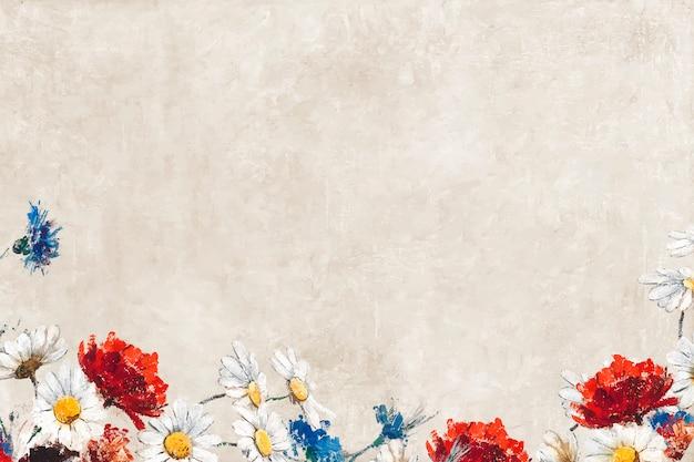 Fleurs sur une toile pastel