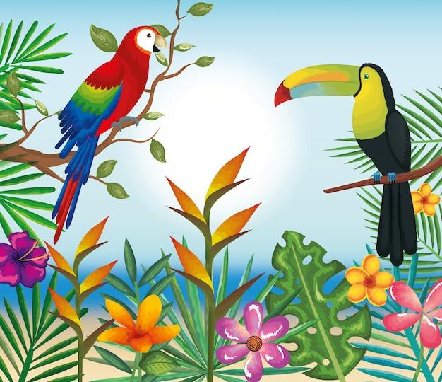 Fleurs tropicales et exotiques avec toucan et perroquet