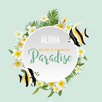 Fleurs tropicales et fond de poissons exotiques. conception d'été. t-shirt graphique de mode.