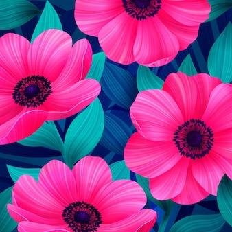 Fleurs tropicales lumineuses roses et corail