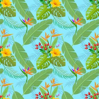 Fleurs tropicales et modèle sans couture de feuille.