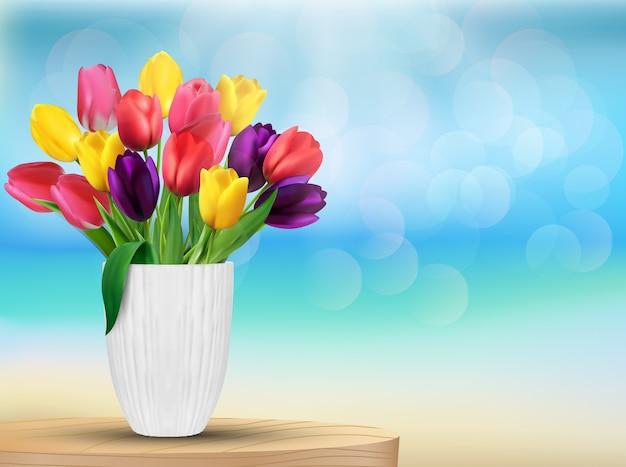 Fleurs de tulipe aux couleurs de l'arc-en-ciel