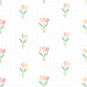 Fleurs de tulipe mignon sans soudure de fond