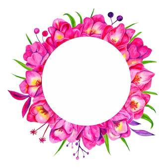 Fleurs de tulipes roses aquarelles. belle composition florale. décoration de mariage. cadre botanique.